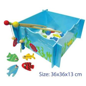 Fun Factory Wooden Fishing Game with 4 Magnetic Rods