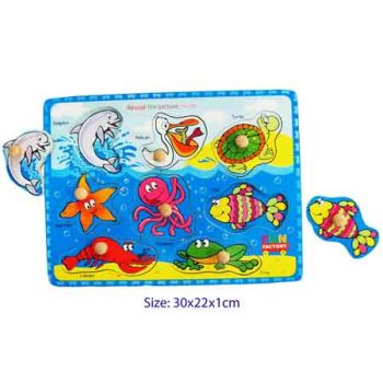 Fun Factory Wooden Puzzle with Knobs - Sea Animals