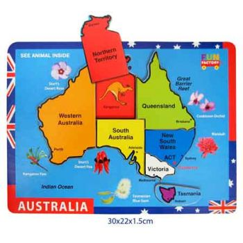 Fun Factory Wooden Puzzle Raised - Australian Map