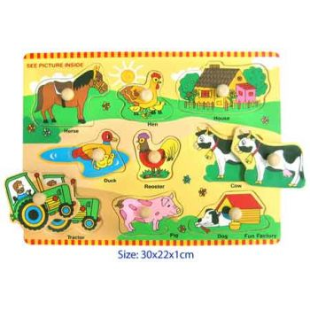 Fun Factory Wooden Puzzle with Knobs - Farm