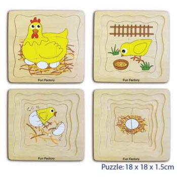 Fun Factory Wooden Puzzle 4 Layers Chicken