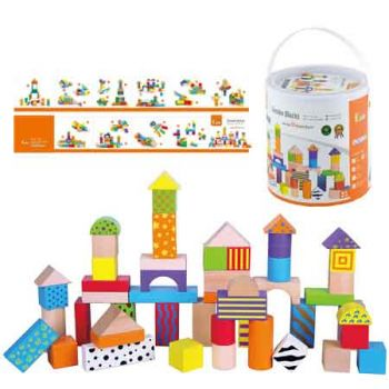 Fun Factory Coloured Wooden Blocks 50pc in Tub