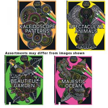 Adult Colouring Book Living Neon assorted
