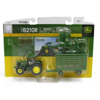 John Deere 1:64 6R Tractor with small square baler,bale throw wagon and bales