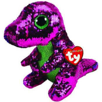 Ty Sequin Flippables Medium - Stompy Pink/Green Dinosaur