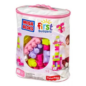 Mega Bloks Big Building Bag - 80pcs (Pink)