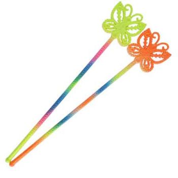 Glitter Rainbow Butterfly Wand 38cm ( ONLY SOLD in Display of 12 )