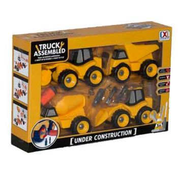DIY 4pce Construction Vehicles with Tools