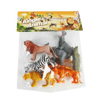 6pce Jungle Animals in Bag