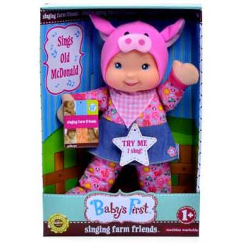 Baby's First Farm Animal Friends Doll - Pig Outift ( was RRP $29.99 )