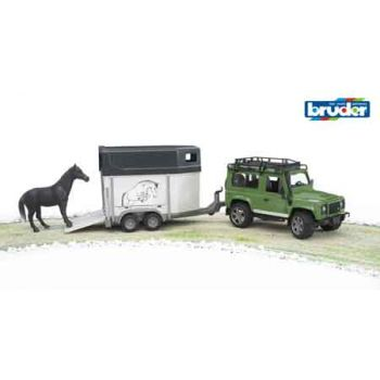 Bruder 1:16 Land Rover Defender Station Wagon w/Horse Trailer & 1 Horse