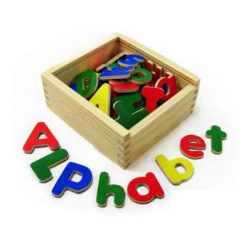Wooden Magnetic Letters 52pc
