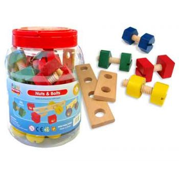 Wooden Nuts & Bolts in Jar 56pc