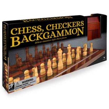 Classic Games Deluxe Backgammon, Chess & Checkers
