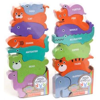 Roo Crew Eco Wood 2.0 Stack up Animals assorted ( ONLY SOLD in Display of 7 )