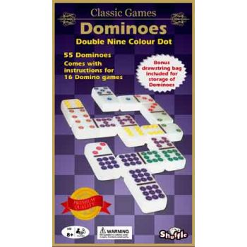 Shuffle Classic Dominoes Coloured Double 9 ( was RRP $19.99 )
