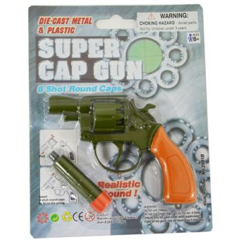 """Gun 8 Shot Diecast 4.25"""" Revolver with silencer"""