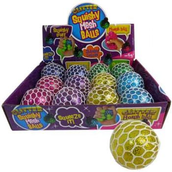 Squishy Mesh Glitter Ball assorted ( ONLY SOLD in Display of 12 )