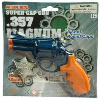 Gun 8 Shot Diecast .357 Magnum Pistol with Sherrif Badge