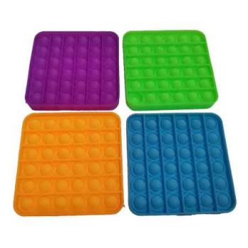 Pop It Fidget Toy Glow in the Dark SQUARE assorted ( ONLY SOLD in Carton of 48 )