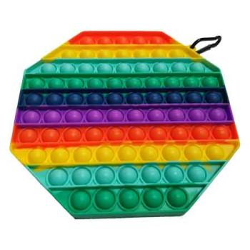 Pop It Fidget Toy SuperSized Rainbow OCTAGON ( ONLY SOLD in Carton of 12 )