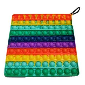 Pop It Fidget Toy SuperSized Rainbow SQUARE ( ONLY SOLD in Carton of 12 )
